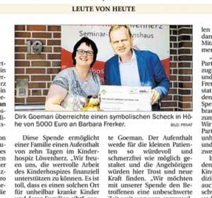 Zeitungsausschnitt Spendenaktion Löwenherz